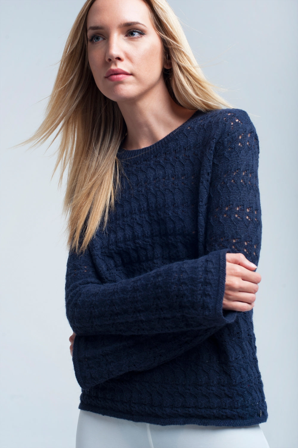 Knitted navy sweater