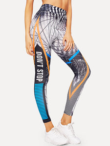 Slogan Print Leggings