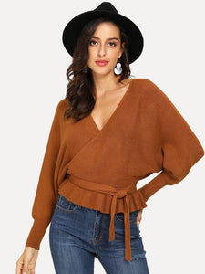 V Cut Back Surplice Ruffle Jumper
