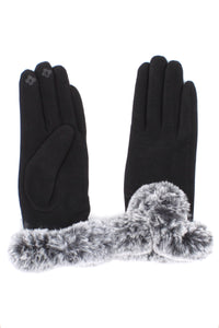 Womens Black Touch Screen Gloves with Faux Fur Cuff