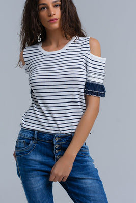 Navy striped top/sweater with embroidery