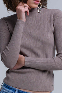Stone gray knitted sweater with lurex in green color