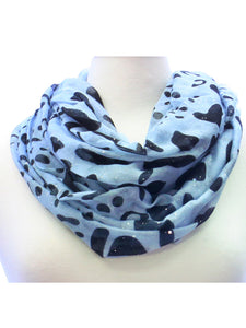 Blue and Black Glitter Animal Print Wide Infinity Scarf Lightweight