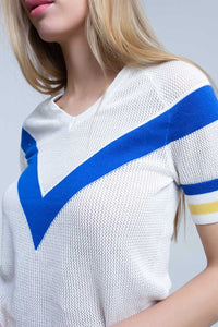 White openwork sweater with blue detail