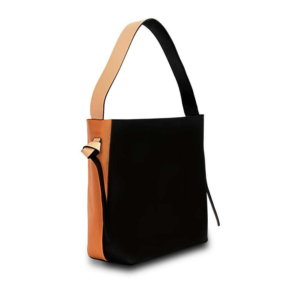Versa Leather Tote -Orange/Black
