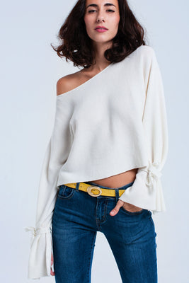 Cream crop sweater with ribbons