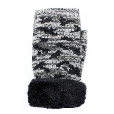 Womens Camouflage Fingerless Winter Gloves
