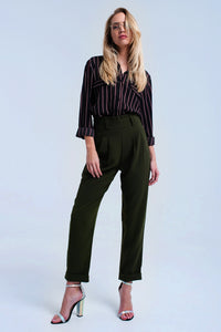 Green pants with ruffles