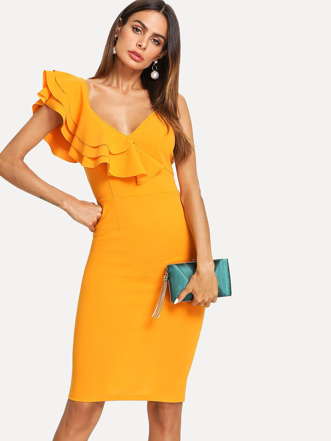 Layered Flounce Trim Split Back Pencil Dress