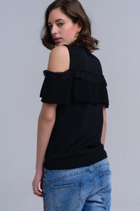 Black cold shoulder sweater with ruffle and lace