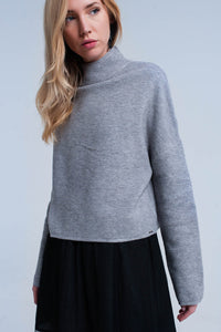 Gray ribbed crop sweater