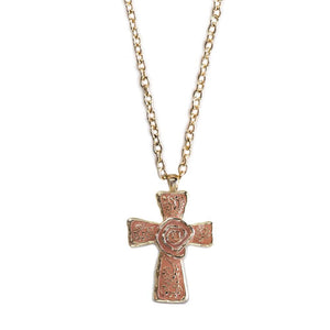 The Cross Necklace-Coral