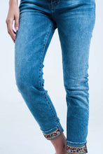 Straight ankle jeans with crystal detail