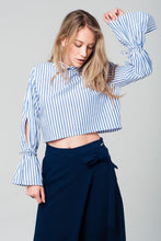 Cropped striped shirt in navy