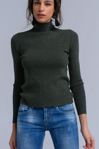 Green knitted sweater with lurex