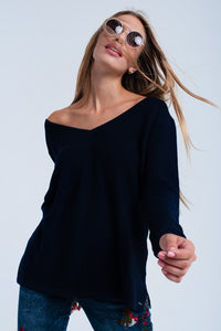 Navy ribbed sweater