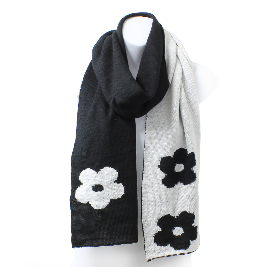 Womens Reversible Flower Knit Rectangle Black Winter Scarf