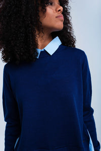 Blue sweater with shirt