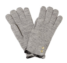 Women Plaid Trimmed Gold Button Gloves Lined