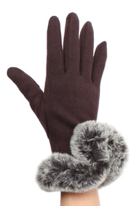 Womens Brown Touch Screen Gloves with Faux Fur Cuff