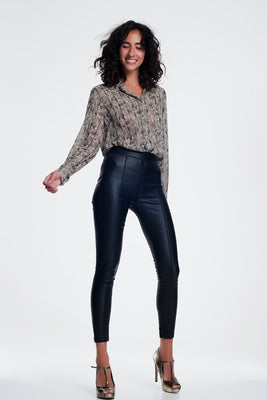 Leather Look Leggings With Elastic Super Skinny