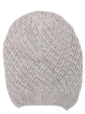 Gray Diamond Crochet Lightweight Beanie Hat