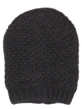 Black Ringlet Textured Slouchy Beanie