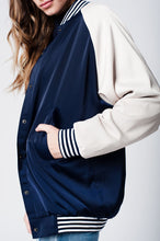 Blue Silky Bomber Jacket