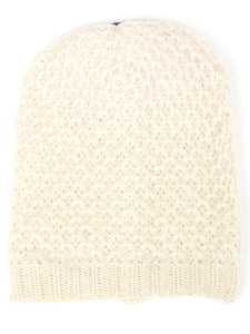 Off White Ringlet Textured Slouchy Beanie