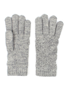 Gray Womens Lace Knit Winter Gloves Fleece Lined