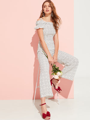 Allover Heart Print Frill Detail Jumpsuit