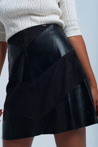Black skirt with mixed fabrics