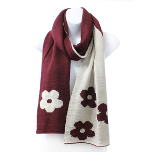 Womens Reversible Flower Knit Rectangle Burgundy Winter Scarf