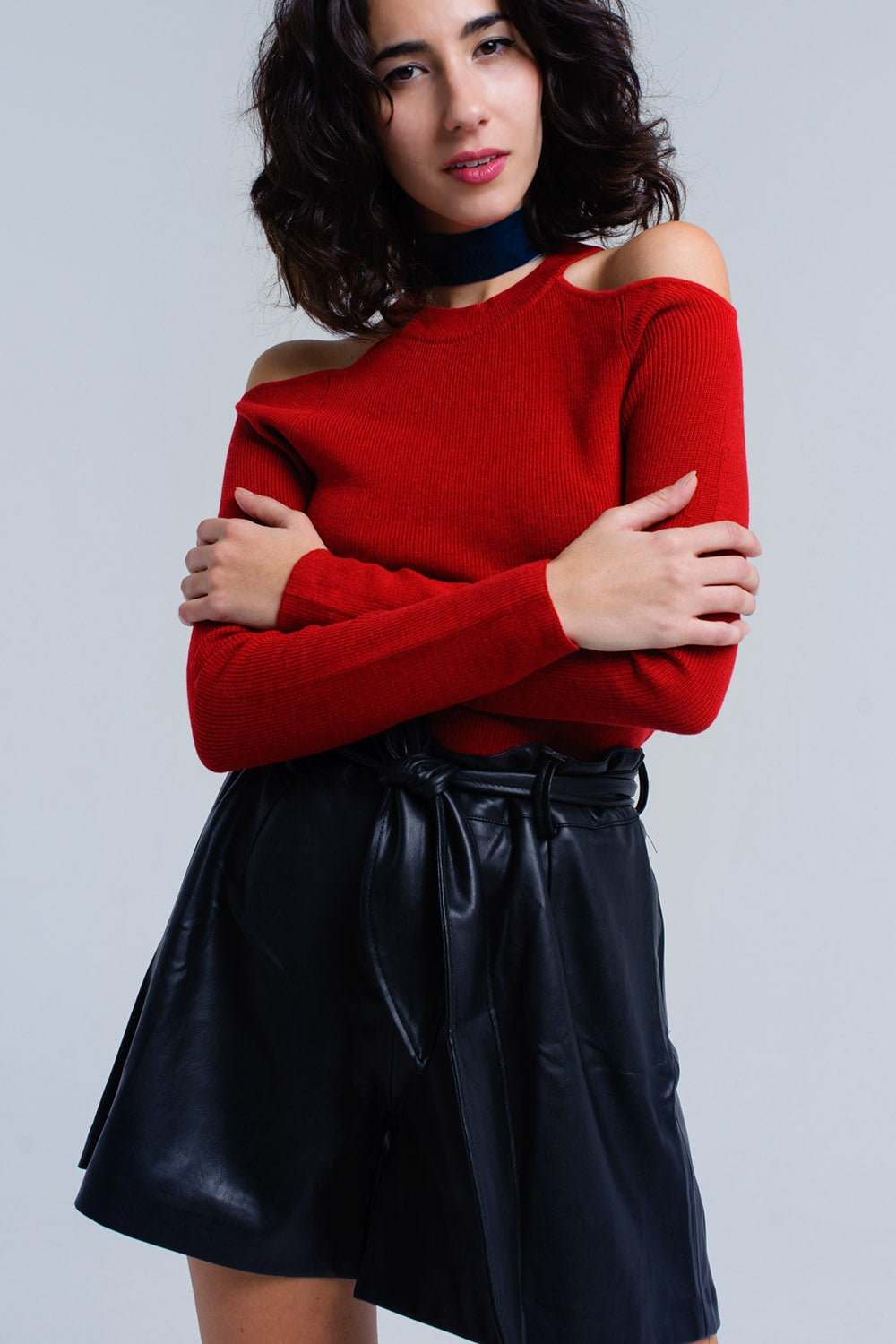 Red sweater with cold shoulder