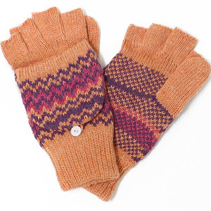 Womens Chevron Angora Blend Flip Top Mitten Gloves