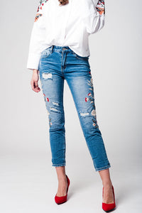 Jeans boyfriend embroidered
