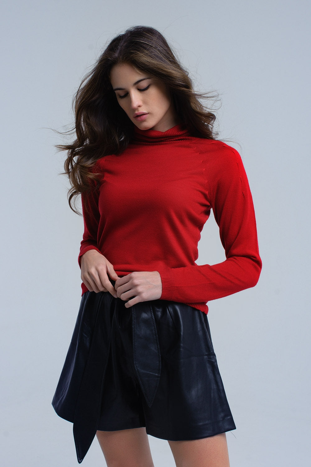 Red sweater with pleated detail