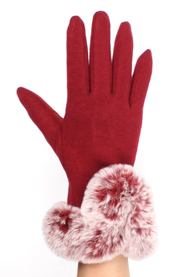 Womens Burgundy Touch Screen Gloves with Faux Fur Cuff