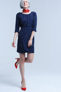 Navy blue midi dress with polka dots