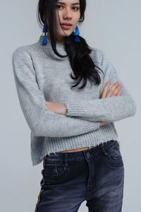 Gray knitted drop frill hem sweater