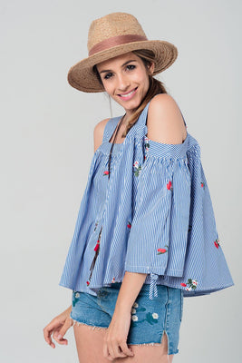 Embroidered cold shoulder striped top
