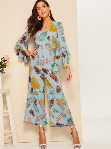 Floral Print V-neck Wide Leg Jumpsuit