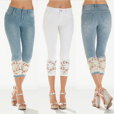 Skinny Jeans with Crochet Lace