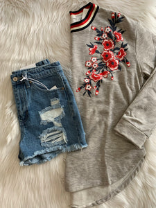 Embroidered Grey Crew Sweatshirt