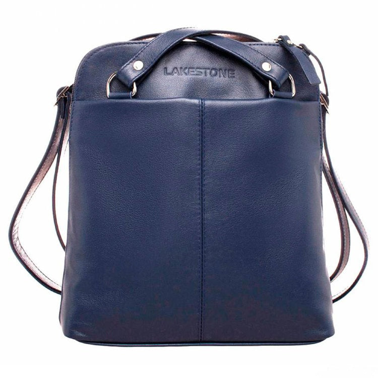 LAKESTONE Navy Blue Leather Backpack