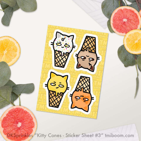 Kitty Cone stickers by DKSprinkles