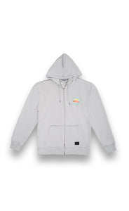 Qualmedie Sweatjacke Badge Grau