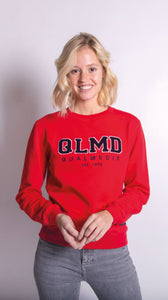 QLMD Damen Sweater Frottee Rot