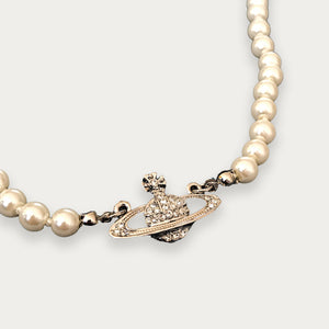 Vivienne Westwood Pearl Necklace / Choker Silver | before midnight vintage