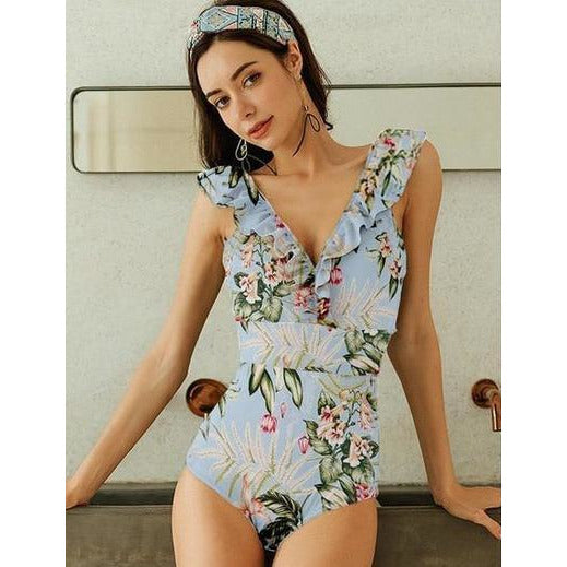 Sleeveless Ruffle V-Neck Floral-Print One-Piece Swimwear